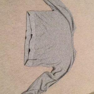 Gray zella long sleeve shirt (ruffled sleeves)